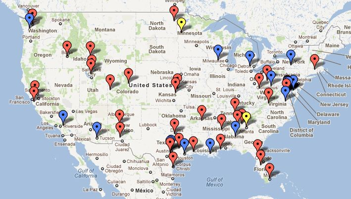 Google Map of U.S. Drone Certificates